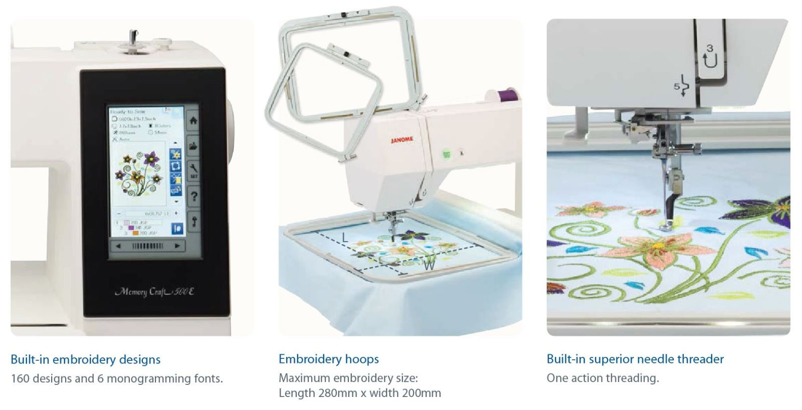 Janome Mc500e Embroidery Machine By Janome Sewing Machines In