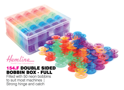 Hemline Double sided bobbin box with 50 neon bobbins