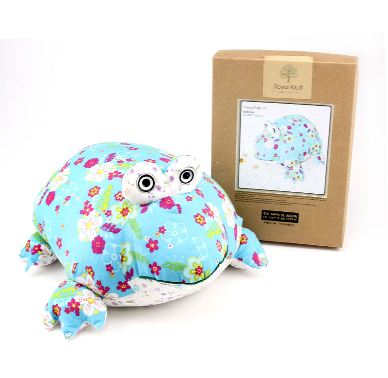 Patchwork Kit Frog Doll - green sea